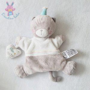 Doudou Chat marionnette beige cœur Mon chaton MOTS D'ENFANTS