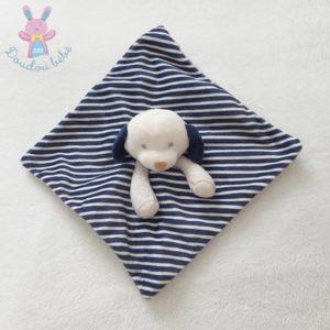 Doudou plat Chien gris rayé bleu marine blanc OBAIBI