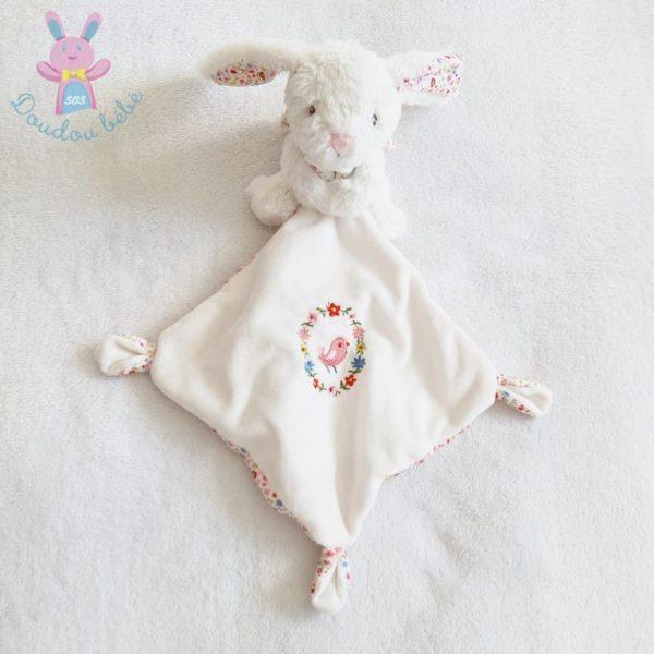 Doudou Lapin blanc mouchoir fleurs POMMETTE