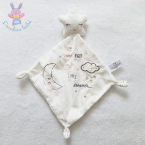 Doudou étoile mouchoir plat blanc «Sweet night little dreamer» SIMBA