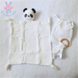Doudou plat Panda lange coton blanc noir + hochet + sac VERTBAUDET