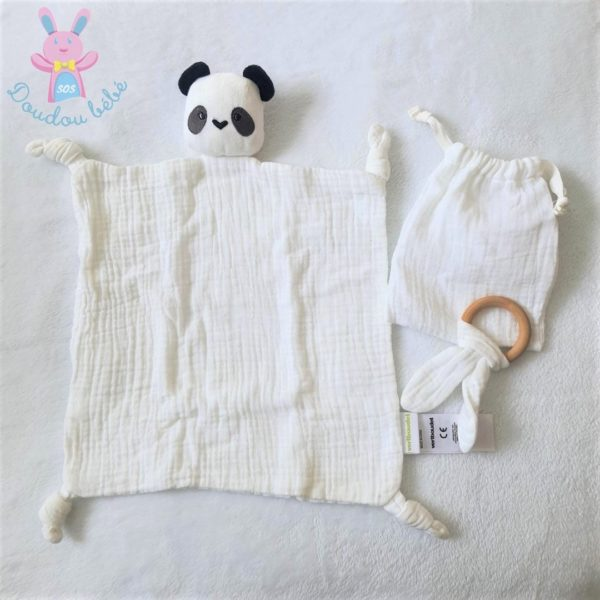 Doudou plat Panda blanc noir tissu VERTBAUDET