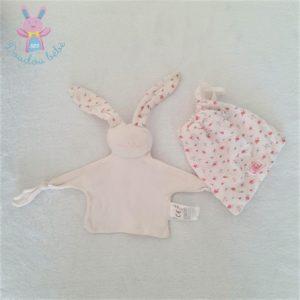 Doudou plat Lapin coton rose pâle fleurs + sac PETIT BATEAU