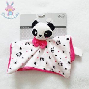 Doudou plat Panda blanc rose noir étoiles nœud KIMADI
