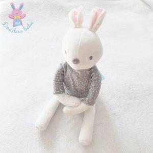 Doudou Lapin blanc pull gris pois blanc OBAIBI OKAIDI