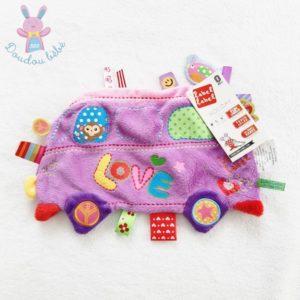 Doudou plat Bus Love violet multicolore étiquettes LABEL LABEL