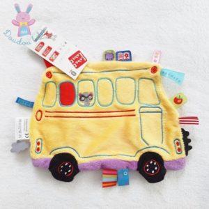 Doudou plat Bus scolaire jaune multicolore étiquettes LABEL LABEL