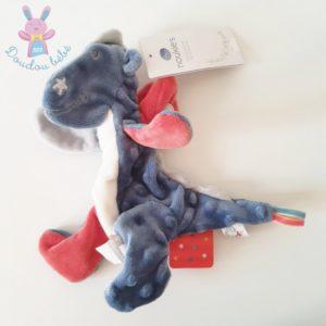 Doudou plat Dragon Victor bleu blanc rouge papier froissé NOUKIE'S