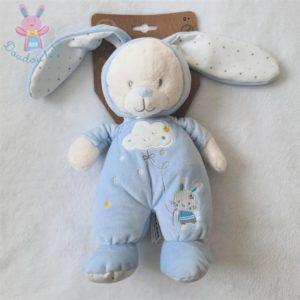 Doudou Ours déguisé en Lapin bleu blanc étoiles MAX & SAX