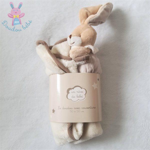 Doudou Lapin couverture beige blanc Un rêve de bébé