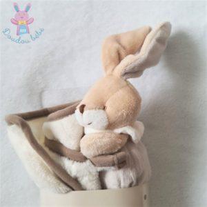 Doudou Lapin beige crème couverture blanc Un rêve de bébé