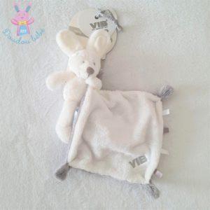 Doudou Lapin mouchoir blanc gris VIB VERY IMPORTANT BABY