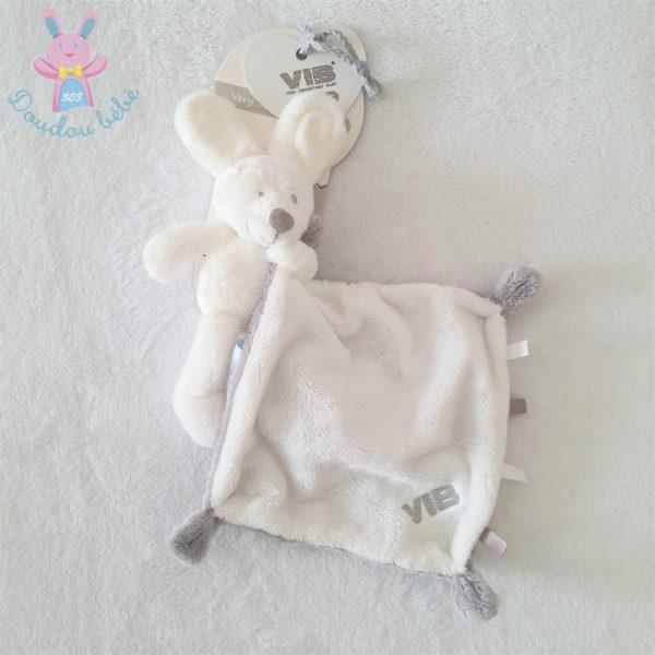 Doudou Lapin mouchoir blanc gris VIB