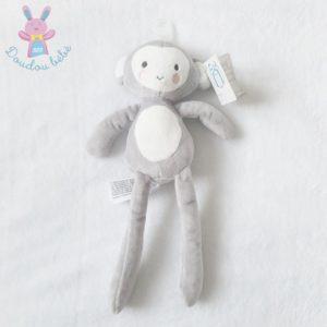 Doudou Singe gris blanc rose 30 cm SIMBA KIABI