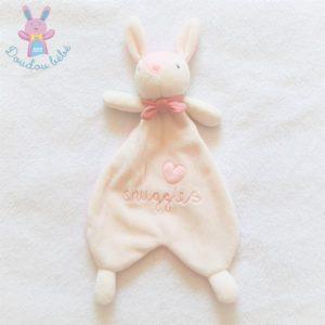 Doudou plat Lapin blanc rose «I love snuggles» cœur H&M