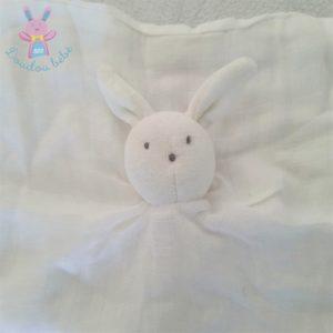 Doudou plat Lapin lange coton blanc DU PAREIL AU MEME DPAM