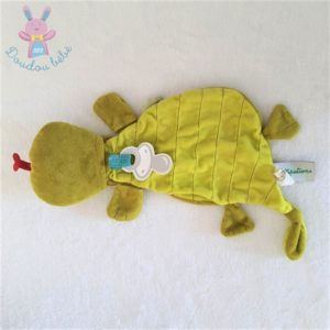 Doudou plat Dragon Walter marionnette vert bleu LILLIPUTIENS