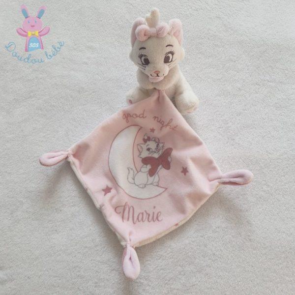 Doudou Chat Marie mouchoir rose blanc DISNEY