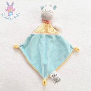 Doudou plat Vache bleu blanc jaune triangles MOTS D'ENFANTS