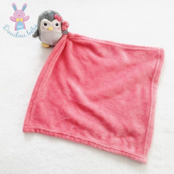 Doudou Pingouin gris couverture rose NICOTOY