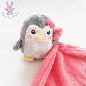 Doudou Pingouin gris rayé couverture polaire rose fuchsia NICOTOY