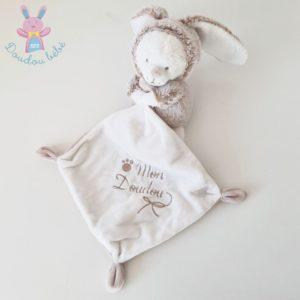 Mon doudou Ours déguisé en Lapin mouchoir beige chiné blanc NICOTOY