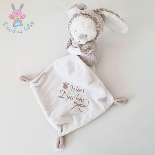 Doudou ours déguisé en lapin mouchoir NICOTOY