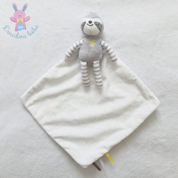 Doudou Paresseux gris blanc OBAIBI