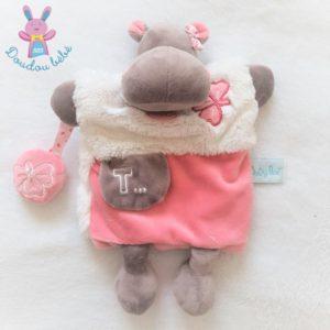 Doudou marionnette Hippopotame Zoé douillettes rose blanc BABY NAT