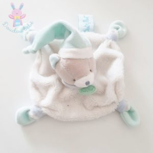 Doudou plat Ours blanc gris vert d'eau avec bonnet BABY NAT