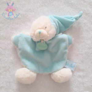 Doudou plat Ours bleu blanc câlins avec bonnet BABY NAT