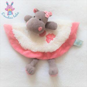 Doudou plat Hippopotame Zoé rose blanc marron BABY NAT