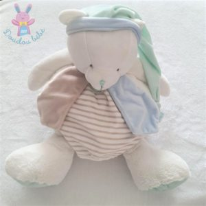 Doudou Ours range-pyjama Layette bleu blanc vert BABY NAT