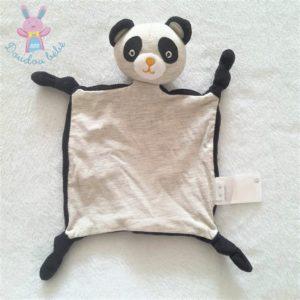 Doudou plat Panda noir et tissu gris VERTBAUDET