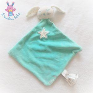 Doudou plat Lapin Pilou bleu turquoise blanc étoile TAPE A L'OEIL TAO