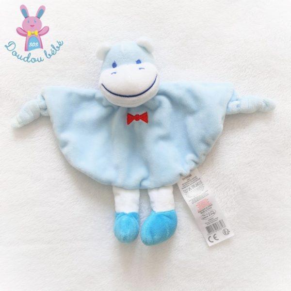 Doudou plat Hippopotame bleu TOM & KIDDY