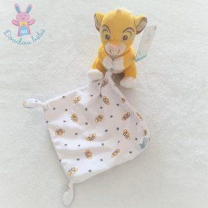 Doudou Roi Lion Simba jaune mouchoir blanc The Lion King DISNEY