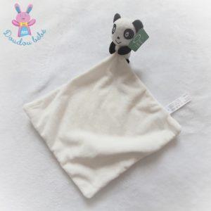 Doudou Panda grelot noir et blanc mouchoir blanc ZEEMAN