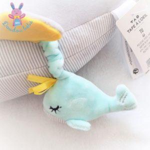 Doudou peluche Baleine Hibaleine gris jouet d'éveil TAO TAPE A L'OEIL