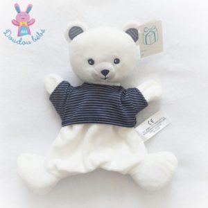Doudou marionnette Ours blanc t-shirt rayé bleu marine SIMBA KIABI