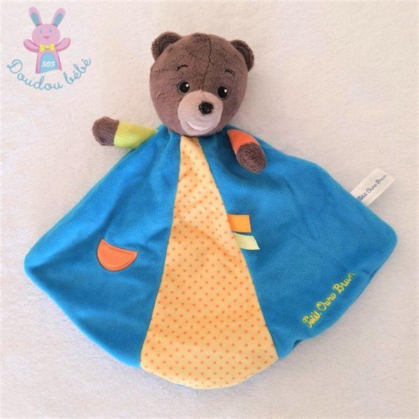 Doudou plat Petit ours brun bleu jaune JEMINI