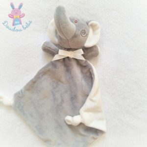 Doudou plat éléphant gris blanc nœud tout doux Bébé Confort