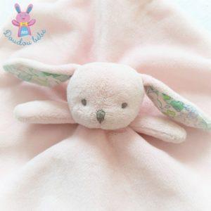Doudou plat Lapin rose blanc fleurs attache tétine JACADI