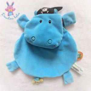 Doudou plat Hippopotame Arnold bleu rose pirate LILLIPUTIENS