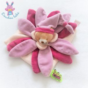 Ours plat collector fleur pétales rose violet Tatoo DOUDOU ET COMPAGNIE