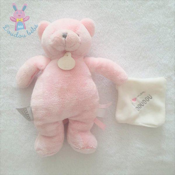 Doudou Chat rose j'aime mon DOUDOU ET COMPAGNIE