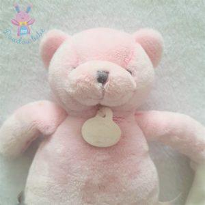 Chat rose mouchoir blanc J'aime mon doudou DOUDOU ET COMPAGNIE