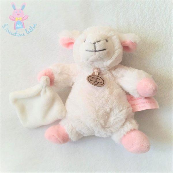 Doudou Mouton blanc rose mouchoir DOUDOU ET COMPAGNIE