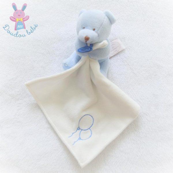 Doudou Ours bleu mouchoir blanc DOUDOU ET COMPAGNIE
