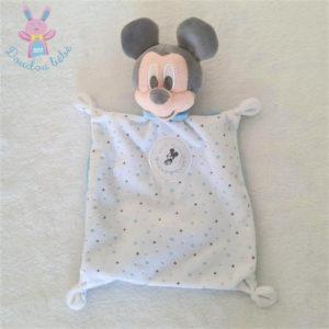 Doudou plat Mickey blanc bleu étoiles écusson lune DISNEY